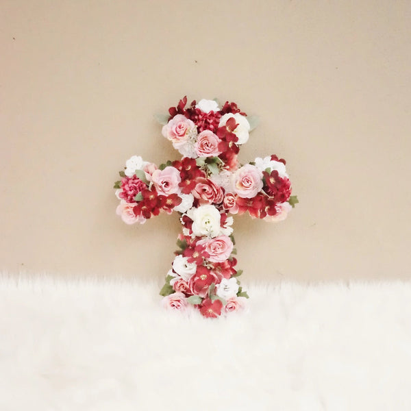 Baptism Decorations Girl, Baptism Cross, baptism banner, christening banner, First Communion Decor, Baptism Gift, Baptism Backdrop, burgundy, rose gold, flower cross, floral cross, baptism gift for girl