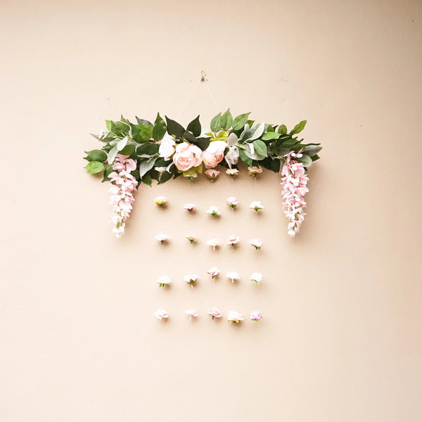 blush pink and white flower wall, floral decor, floating flower decor, flower backdrop