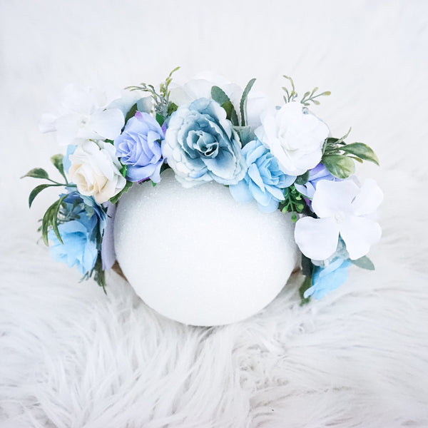Dog Flower Crown for Photos, Gift for Dog Birthday, Dog First Birthday Photos, Dog Crown, Mommy and Dog Flower Crown, Dog Photos, blue and white decor