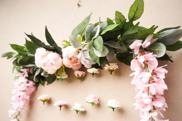 faux flower decor, flower wall, peonies, pink flowers, floating flowers, flower curtain