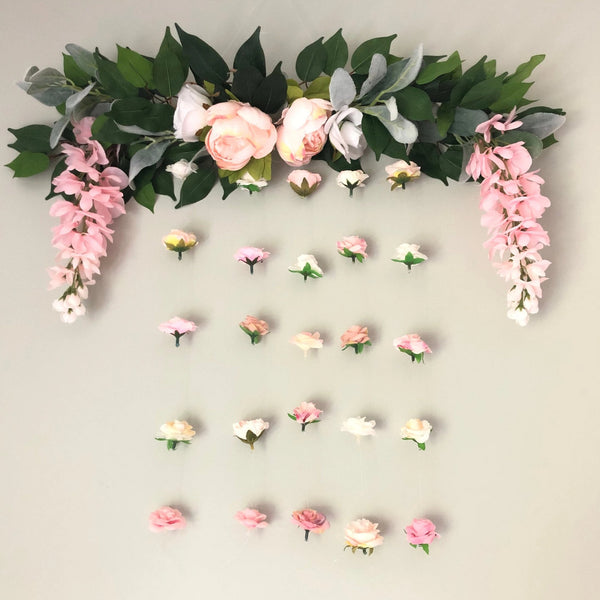 floating flower wall, nursery bedroom decor, girl nursery decor, blush pink flower decor, flower walls