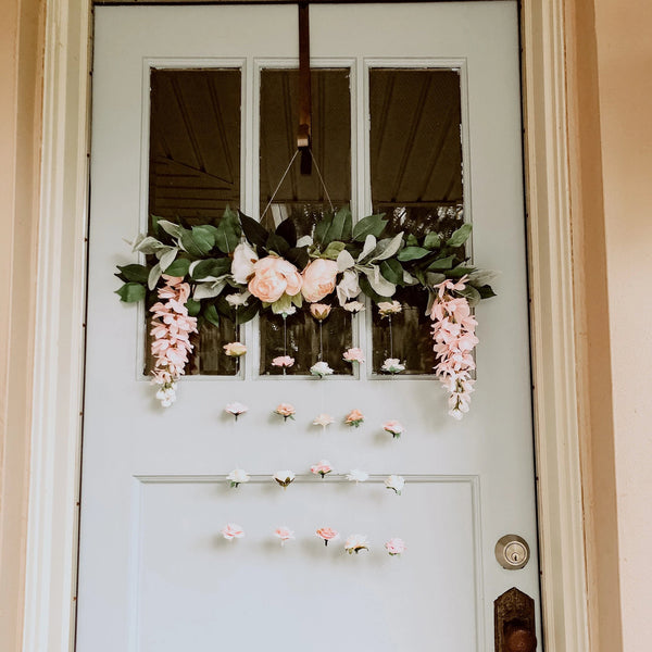 Front Door Flower Wreath Wall, Housewarming Gift, Everyday Wreath, Front Door Decor, Door Floral Welcome Wreath, Spring Wreath, front door decor, welcome sign, flower wall, floating flower wall