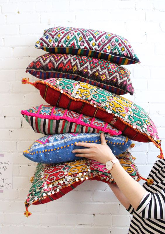 Moroccan kilim pillows for your boho chic living room, from Baba Souk: