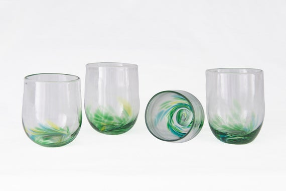 "Four Blown Glass Stemless Tumblers. Free Ship to Canada. 3"" by 2"" in greens. Hand made for wine, spirits, scotch, port, juice."