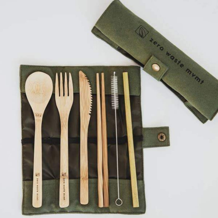 Travel Bamboo Utensil Set with Olive Green Pouch by Zero Waste MVMT