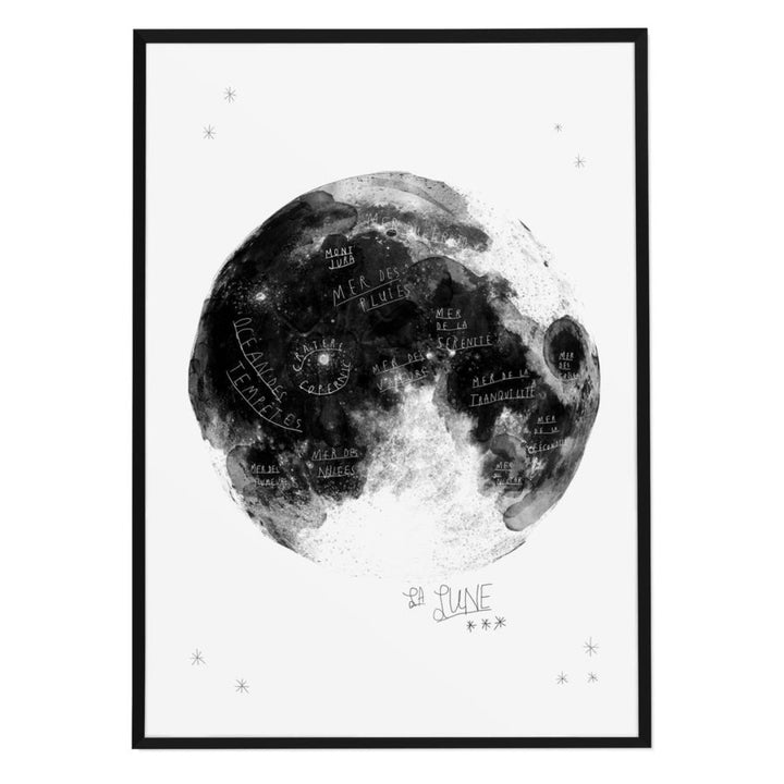 La Lune Moon Hand-drawn Map Print by Baltic Club