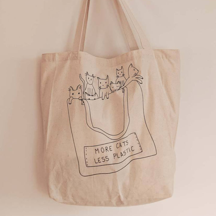 More Cats Less Plastic Cotton Tote