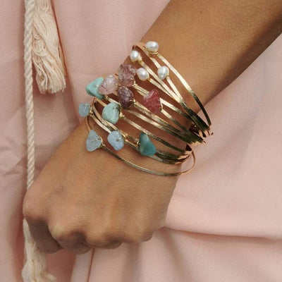 Gemstone Nugget Bangles
