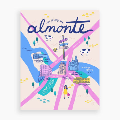 The Friendly Town Almonte Map Postcard