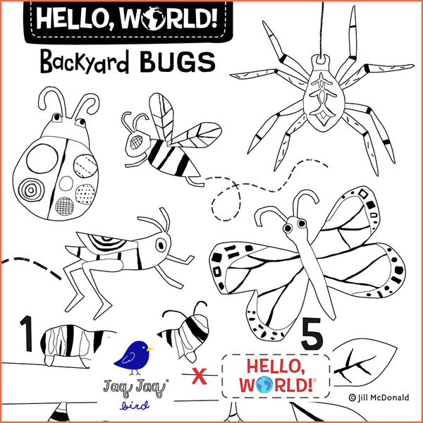 Hello, World! Printable Coloring Sheet — Backyard Bugs