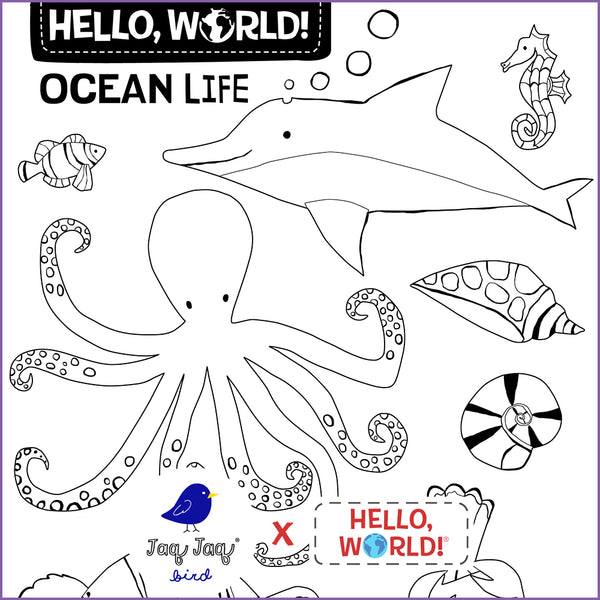 Hello, World! Printable Coloring Sheets — Ocean Life