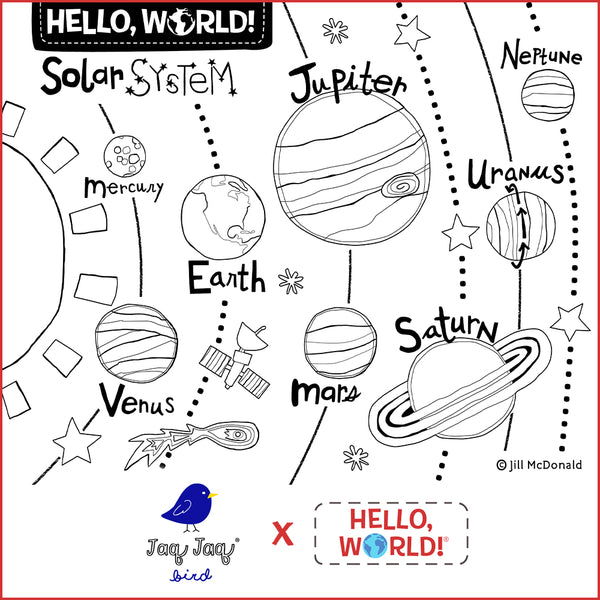 Hello, World! Printable Coloring Sheet — Solar System