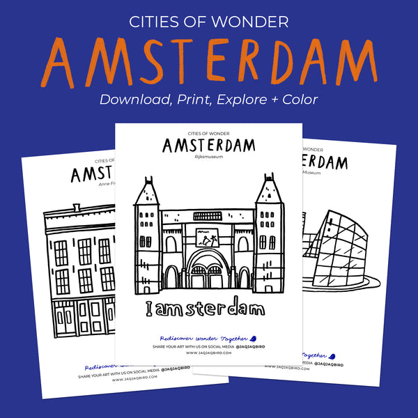 Jaq Jaq Bird Cities of Wonder Downloadable Coloring Set - Amsterdam