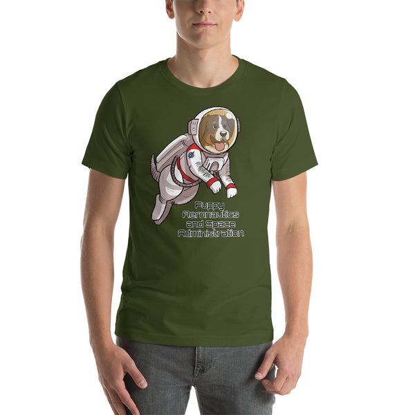 Short-Sleeve Unisex T-Shirt- Puppy Aeronautics and Space Administration
