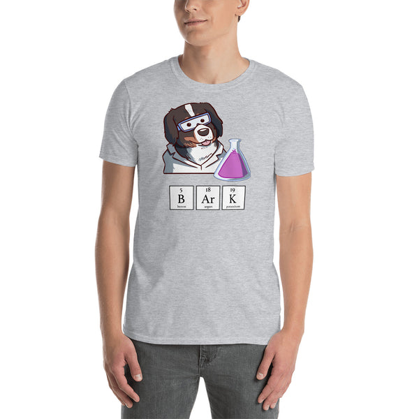 Short-Sleeve Unisex T-Shirt- Science Guy Bunsen with BARK