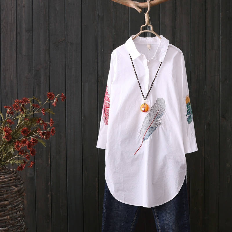 100% Cotton Plus size Feather Embroidery White Long Blouse Women 3/4