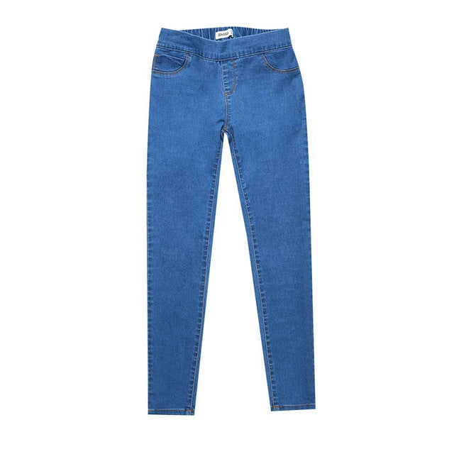 Autumn & Winter Medium Waist Washed Blue Slim Elastic Lady Jeans