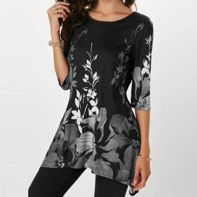 Floral Print Stretch Beach Shirt Tunic Loose Long Party Blouses