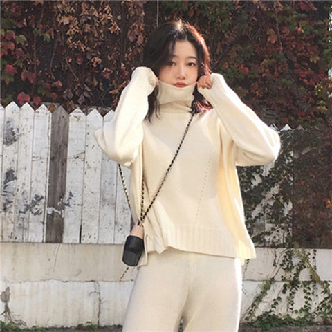autumn spring knitted tracksuit turtleneck sweatshirts
