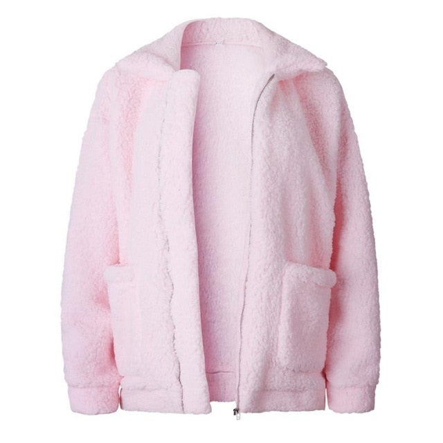 Fur Jacket Female Plush Overcoat Pocket Casual Teddy Outwear