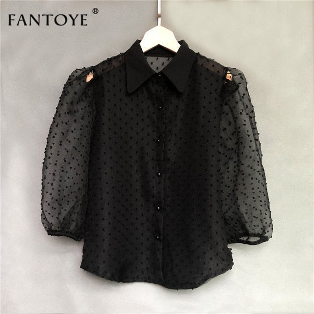 Spring New Women Chiffon Blouse Shirt Sexy Transparent Mesh