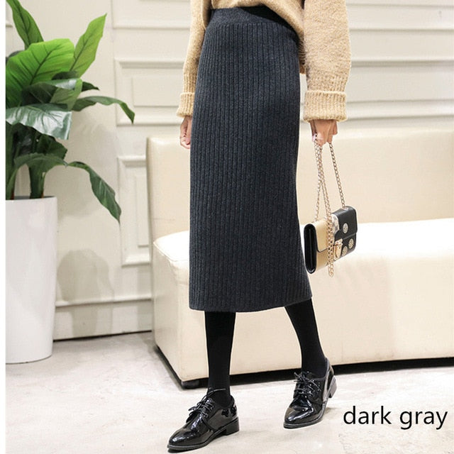 Hanyiren Pencil Skirt High Waist 2019 Autumn Winter Women Elegant Knitted Bodycon Skirt Black Solid Ladies Office Wear Skirts