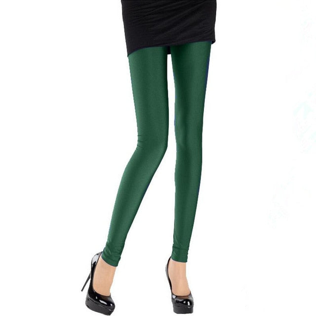 Hot Selling Women Solid Color Fluorescent Shiny Pant Leggings