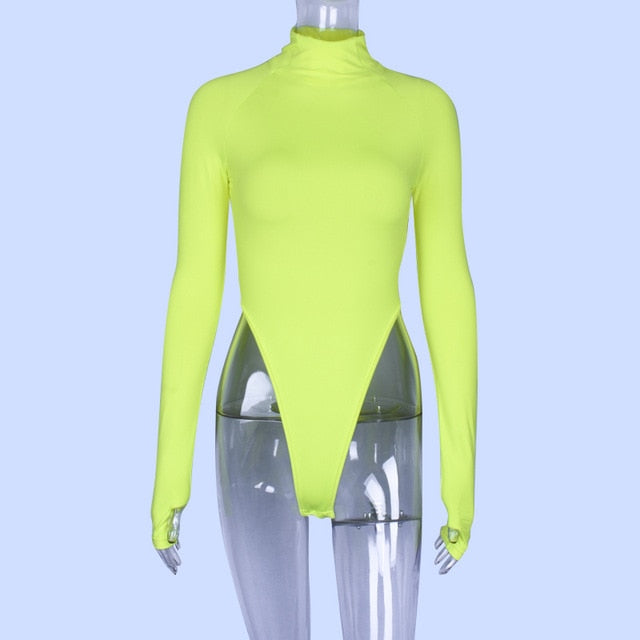 Hugcitar long sleeve high neck neon bodycon sexy Christmas bodysuit 2019 autumn winter women fashion casual slim fit body