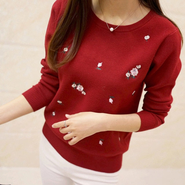 Lcybhe 2019 Autumn Sweater Women Embroidery Knitted Winter Women Sweater And Pullover Female Tricot Jersey Jumper Pull Femme