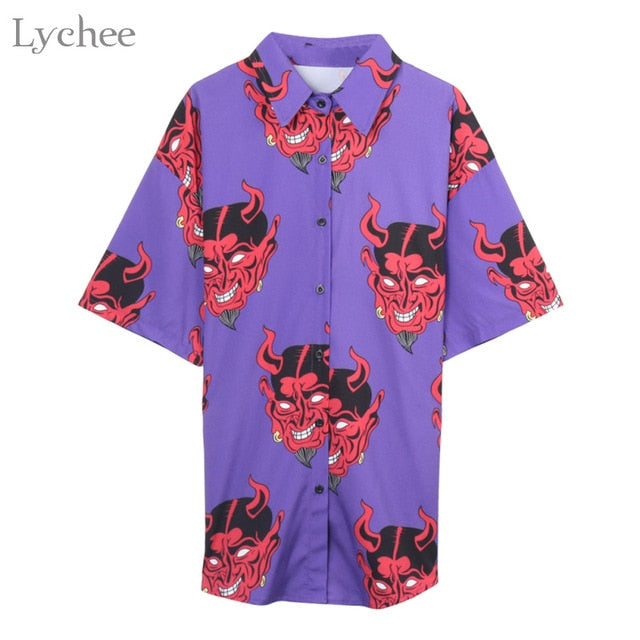 Summer Women Blouse Punk Gothic Casual Loose Short Sleeve Shirt Female