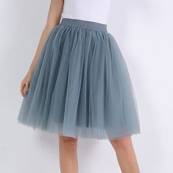 Party Train Puffy 5Layer 60CM Fashion Women Tulle Skirt Tutu Wedding Bridal Bridesmaid