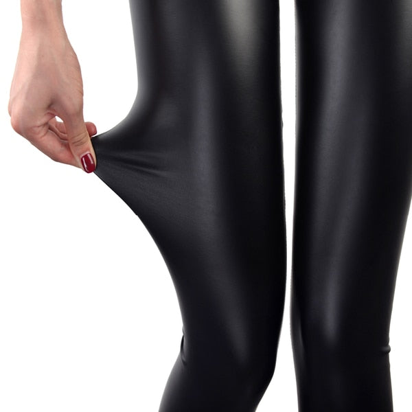 S-3XL High Waist Faux Leather Fashion Sexy Thin Black Leggings