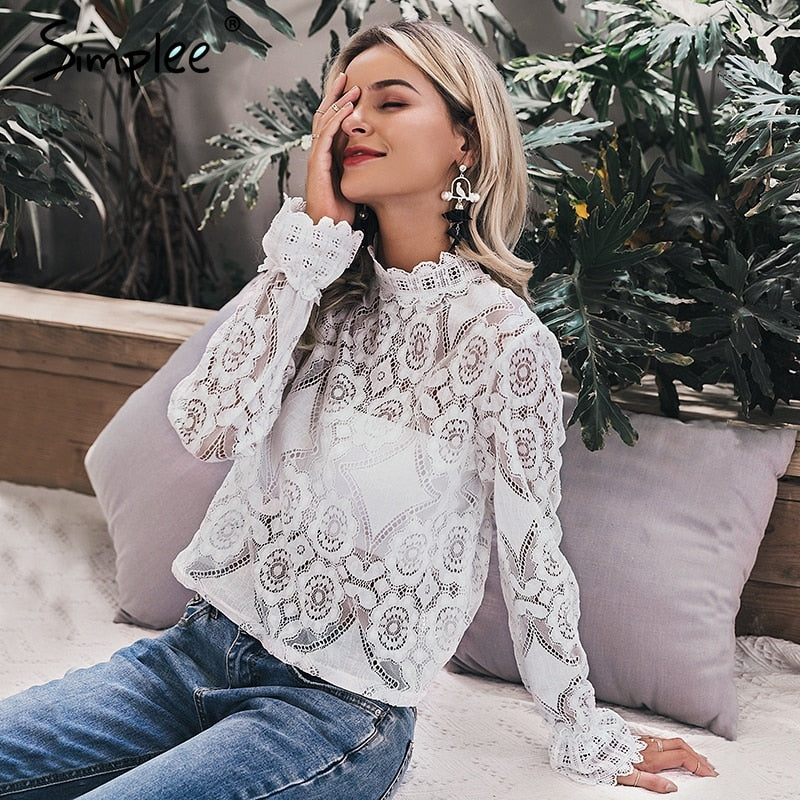 feminine blouse Women long lantern sleeve summer female
