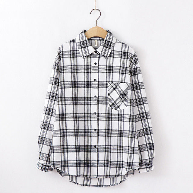 women chic over-sized plaid blouse long sleeve