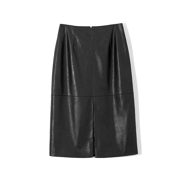 WOTWOY Autumn Office Lady Faux Leather Women Skirt 2019 Formal High Waist Midi Pencil Skirt Knee-Length Back Split Skirt Womens