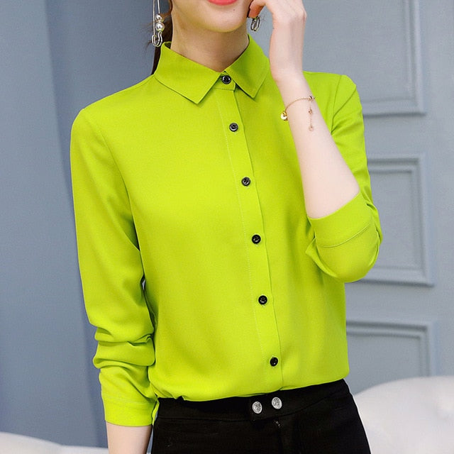 Women Office Lady Shirts Spring  Long Sleeve Slim White Chiffon