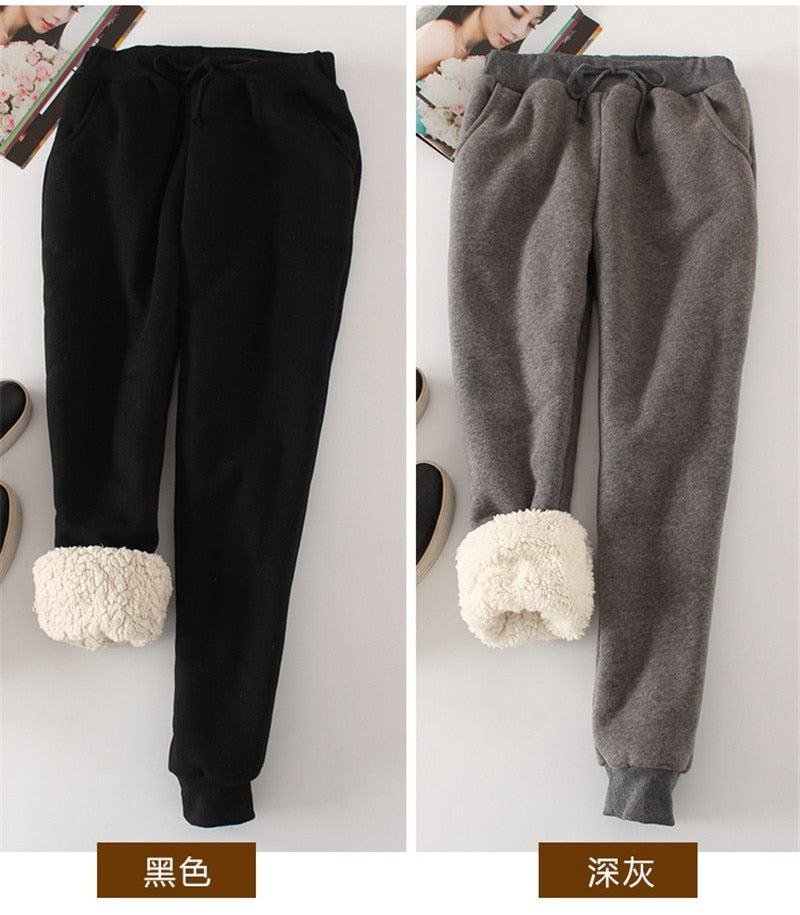 Women Pant Winter Thick Lambskin Cashmere Pants