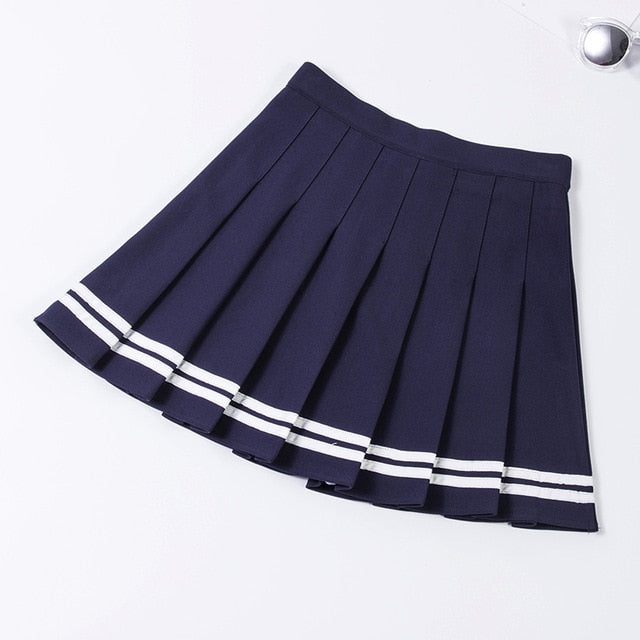 XS-XXL Four Colors High Waist A-Line Women Skirt Striped Stitching Sailor Pleated Skirt Elastic Waist Sweet Girls Dance Skirt