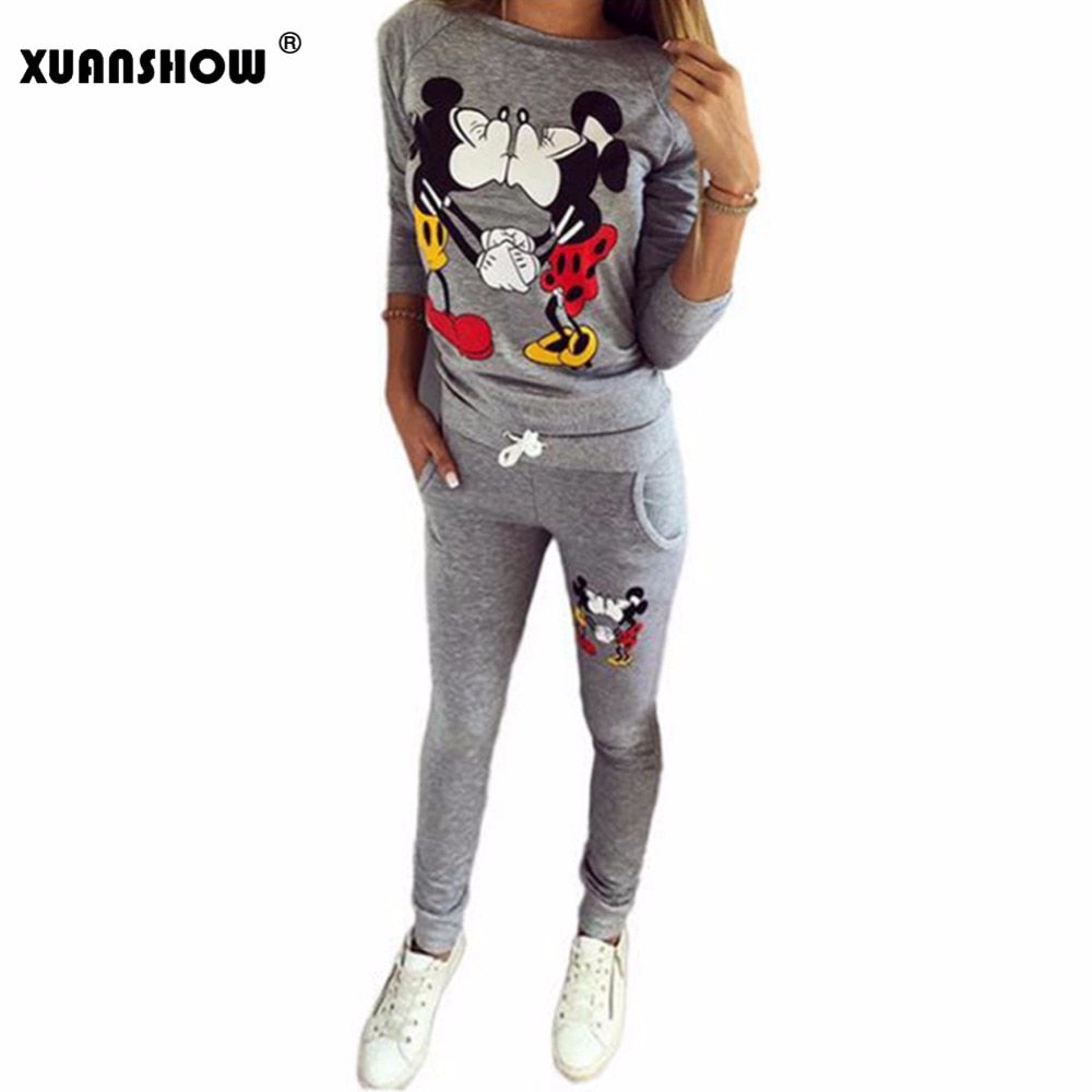 Hot Selling Women Casual Sportswear Lovely Printed Hoodies long-sleeved Suit
