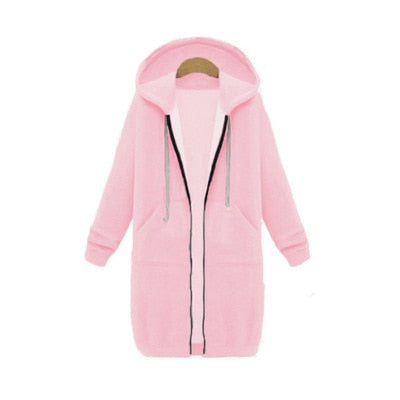 Long Hoodies Women Autumn Winter Oversized Hoodies Long Sleeve Sweatshirt Women Zipper Fashion Outerwear Pockets Sudadera Mujer