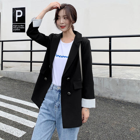 Casual Double Breasted Women Jackets Notched Collar