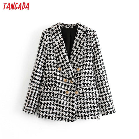 Tangada Women Thick Tweed Coats Jacket Long sleeves