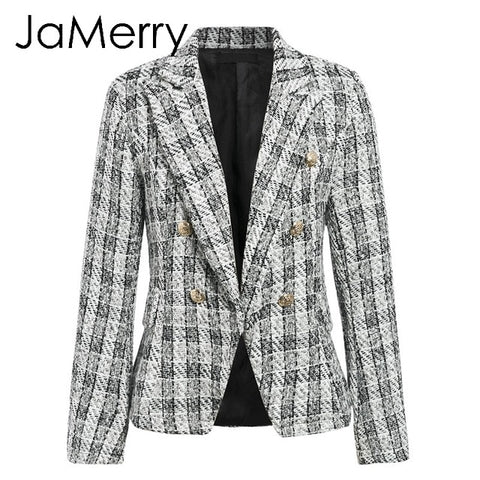 Vintage 2 piece set plaid blazer women Buttons double breast office lady blazer jackets