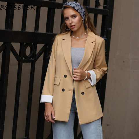 Chic Double-breasted Women Jackets Notched-neck Yellow Women Blazer Jacket Female Outerwear