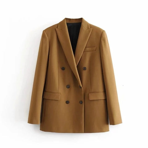 Winter Women Double Breasted Blazer Coat  Office Ladt Slim Elegant Jackets