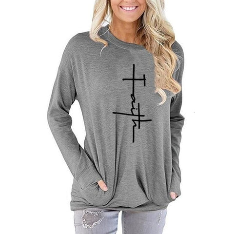 Long Sleeve Pocket Hoodies For Women Faith Letters Print s Kawaii Casual Cotton Hoodies Girls Harajuku