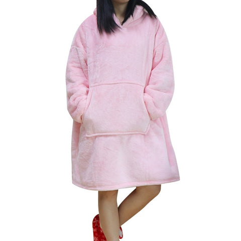 Women Blanket Sweatshirt Robe Winter Hoodies Outdoor Hooded Coats