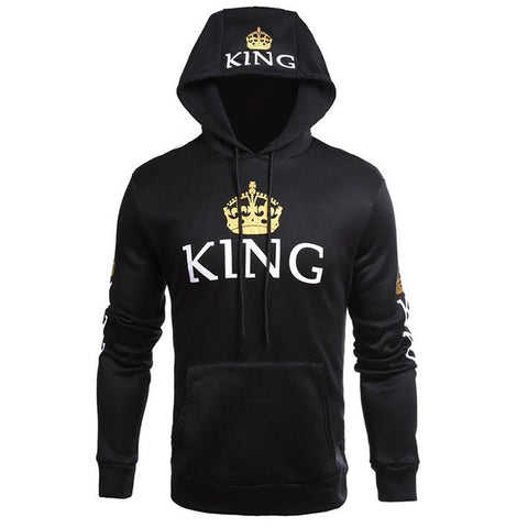 King Queen Printed Couple Hoodies Women Men Sweatshirt Lovers Couples Hoodies Casual Pullovers Gift