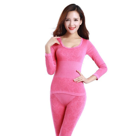Lace Thermal Underwear Sexy Ladies Clothes Winter Seamless Antibacterial Warm Intimates