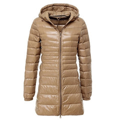 Ultra Light Down Jacket for  Women made With Hooded Down Coat Female Big Size Coats